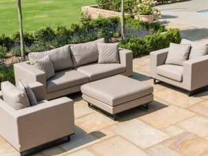 Garden 5 Seat Sofa Set - Coffee Table Pouffe - Taupe All Weather Fabric