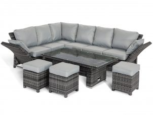Garden Corner Sofa Dining Set - Rising Dining Table - Reclining Arms - Grey Polyweave