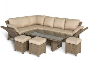 Garden Corner Sofa Dining Set - Rising Dining Table - Reclining Arms - Light Polyweave