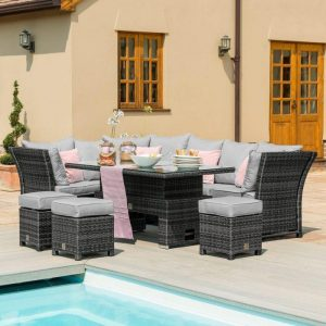 Garden Corner Sofa Dining Set - Rising Dining Table - Reclining Arms - Grey Polyweave