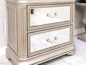 Bedside Drawers - 2 Drawer Mirrored Bedside Drawers - LA Mirrored Range