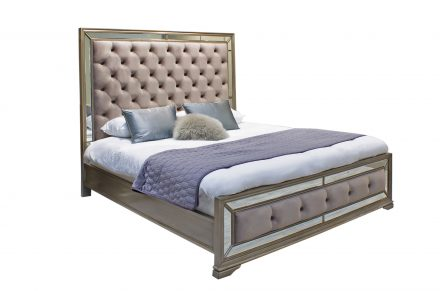5ft King-size Bed - Mirror & Deep Upholstered Finish - LA Mirrored Range
