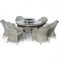 6 Seat Round Fire Pit Garden Dining Set - Grey Polyweave - Heritage Chairs
