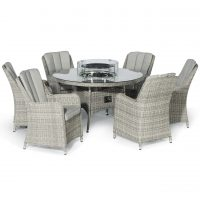 6 Seat Round Fire Pit Garden Dining Set - Grey Polyweave - Venice Chairs