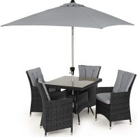 4 Seat Square Garden Dining Set - Umbrella & Base - Grey Polyweave