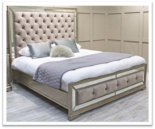 6ft Super King-size Bed - Deep Upholstered Finish - LA Mirrored Range