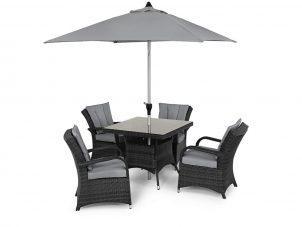 4 Seat Square Garden Dining Set - Round Umbrella & Base - Grey Polyweave