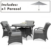 4 Seater Round Garden Dining Set - Umbrella & Base - Grey Poly-Weave