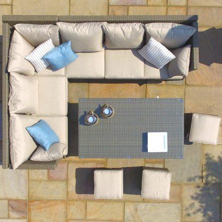 Garden Corner Sofa Dining Set - Rising Dining Table - Reclining Arms - Light Polyweave