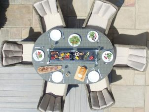6 Seat Oval Fire Pit Garden Dining Set - Light Brown Polyweave - Venice Chairs