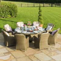 8 Seat Round Garden Dining Table Set - Inset Ice Bucket - Umbrella - Light Brown Polyweave