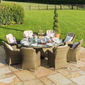 8 Seat Round Garden Dining Table Set - Inset Ice Bucket - Umbrella - Light Brown Polyweave
