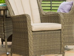 8 Seat Oval Fire Pit Garden Dining Set - Light Brown Polyweave - Venice Chairs