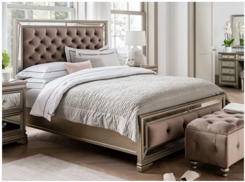 6ft Super King-size Bed - Mirror & Deep Upholstered Finish - LA Mirrored Range
