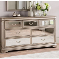 Chest Of Drawers - 3 over 4 Drawer Mirrored Hand Painted Dressing Drawers - LA Mirrored Range