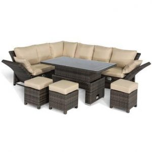 Garden Corner Sofa Dining Set - Rising Table - Reclining Arms - Brown Poly Weave