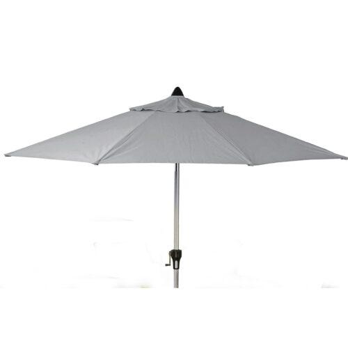 4 Seat Square Garden Dining Set - Umbrella & Base - Grey Polyweave