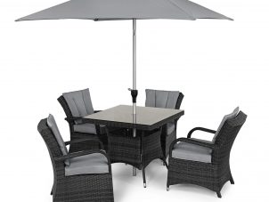4 Seat Square Garden Dining Set - Round Umbrella & Base - Grey Polyweave