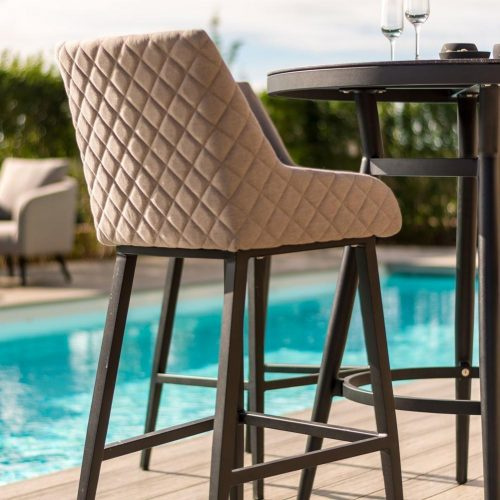 4 Seat Round High Garden Bar Set - Taupe All Weather Fabric - Black Glass Top