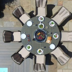 8 Seat Round Fire Pit Garden Dining Set - Light Polyweave - Venice Chairs