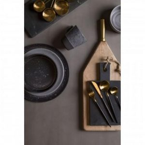 Cutlery Set - 16 Piece Highly Polished Gold & Black Cutlery Set