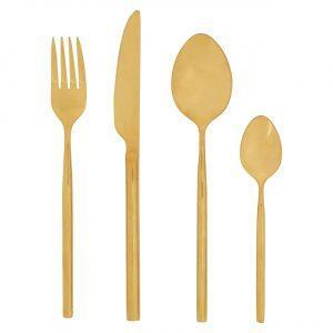 16 Piece Cutlery Set - Highly Polished Gold Finish - Contemporary Design