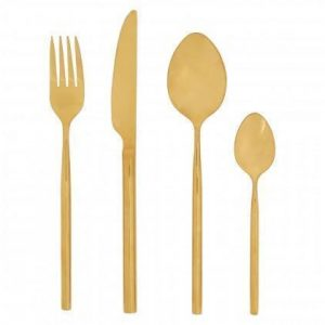 Cutlery Set - 16 Piece Highly Polished Gold Contemporary Cutlery Set