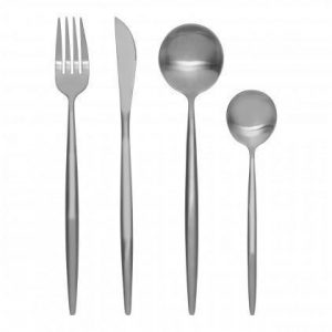 Cutlery Set - 16 Piece Matt Chrome Contemporary Cutlery Set