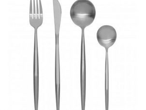 Cutlery Set - 16 Piece Matt Chrome Contemporary Cutlery Set