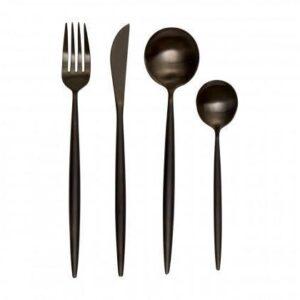 Cutlery Set - 16 Piece Matt Black Contemporary Cutlery Set