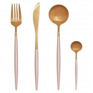 Cutlery Set - 16 Piece Matt Pink & Gold Contemporary Cutlery Set