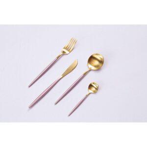 16 Piece Cutlery Set - Matt Pink & Gold - Contemporary Design