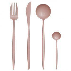 16 Piece Cutlery Set - Matt Pink Finish - Contemporary Design