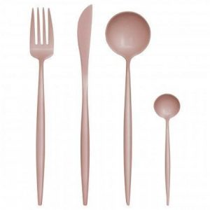 Cutlery Set - 16 Piece Matt Pink Contemporary Cutlery Set
