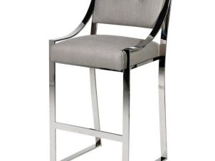Bar Stool - Chrome Leg Designer - Beige Linen Finish