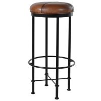 Bar Stool - Antique Black Legs - Brown Top - Jaipur Leather