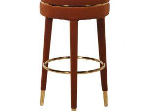 Bar Stool - Rust Velvet Covered Legs - Gold Trim - Rust Velvet Fabric
