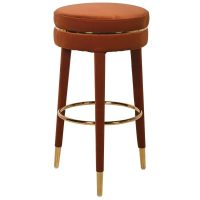 Bar Stool - Rust Velvet Legs - Gold Trim - Rust Velvet Fabric