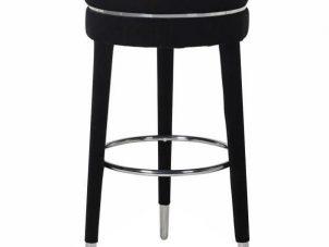 Bar Stool - Black Velvet Legs - Chrome Trim - Black Velvet Fabric