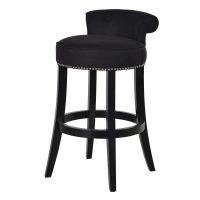 Bar Stool - Black Oak Legs - Studded - Roll Top - Black Linen Fabric