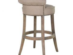 Bar Stool - Washed Oak Legs - Studded - Roll Top - Linen Fabric