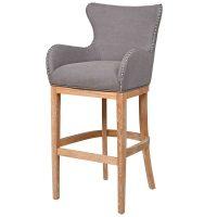 Bar Stool - Light Oak Legs - Knocker Back - Chrome Studded - Grey Fabric
