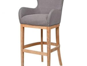 Bar Stool - Light Oak Legs - Knocker Back - Chrome Studded - Grey Fabric