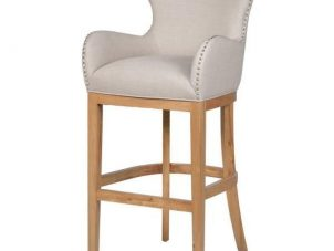 Bar Stool - Light Oak Legs - Knocker Back - Chrome Studded - Ivory Fabric