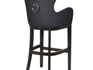 Bar Stool - Light Oak Legs - Knocker Back - Chrome Studded - Ivory Fabric