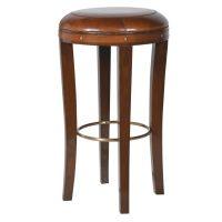 Bar Stool - Brown Oak Legs - Brass Foot Bar - Brown Jaipur Leather