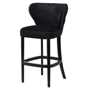 Bar Stool - Black Solid Oak Legs - Deep Buttoned - Black Velvet Fabric