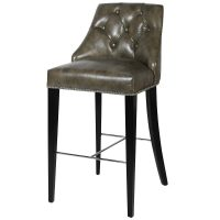 Bar Stool - Black Oak Frame Legs - Deep Buttoned - Taupe Leather