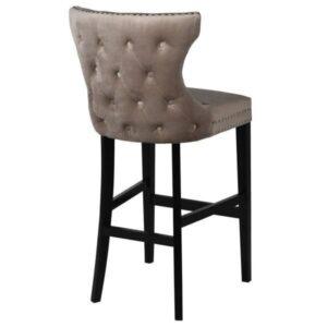 Bar Stool - Black Finished Oak Legs - Chrome Studded - Taupe Velvet