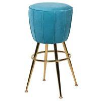 Bar Stool - Polished Gold Designer Bar Stool - Turquoise Velvet